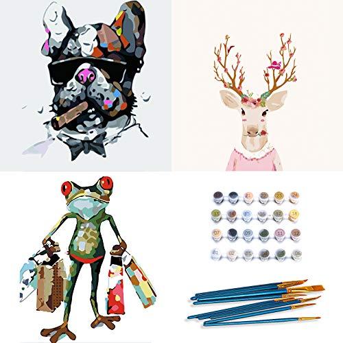 INSOUR Malen Nach Zahlen Erwachsene, 3 Stück DIY Ölgemälde kit auf Leinwand mit 10 Pinsel für Kinder Anfänger Geburtstag Haus Deko - Hund, Frosch und Hirsch (Rahmenlos, 16x20 Zoll)