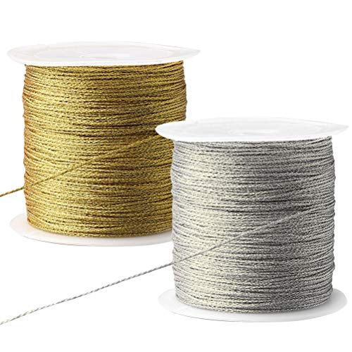 Nuosen 2 rolle Metallic Kordel, 100 Meter Elastische Kordel Craft Cord für Geschenkpapier Dekoration Kunsthandwerk(Silber,Gold)