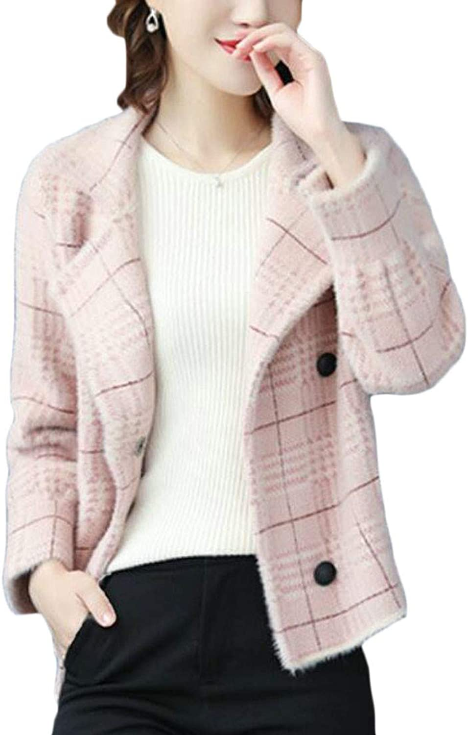 Cromoncent Women's Casual Lapel Plaid Knitted Blazer Double Breasted Cardigans Coat