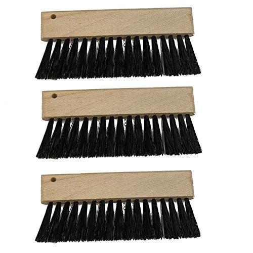 Kellnerbürste 3 Stück, Tischbürste Tischreinigungsbürste Servicebürste Holzgriff natur Kunststoffborsten schwarz, pro Stück ca. 9.5 x 4.5 cm