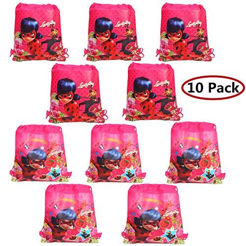 Miraculous Ladybug Partytüten 10 Stück Mitgebsel Kindergeburtstag Geschenktüten Wiederverwendbare Schuhbeutel Partyzubehör für Kinder Geburtstagsparty