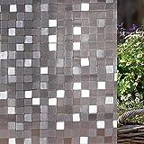LMKJ Mosaico Cuadrado película electrostática Ventana privacidad 3D sin Pegamento electrostático balcón baño Vidrio Pegatina A61 30x100cm