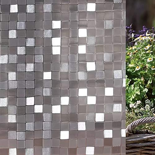 Mosaik quadratische elektrostatische Folie,Fenster Privatsphäre 3D kleberfreie elektrostatische Balkon Bad Glastür und Fensterfolie G 60x100cm