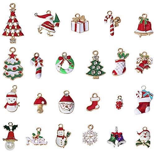 AISHN Weihnachten Anhänger Schmuck Sets,23 Stück Pop Weihnachten Anhänger Dekorative DIY Ornamente Christbaum Deko für Herstellung von Schmuck, Ohrringen, Bekleidungszubehör