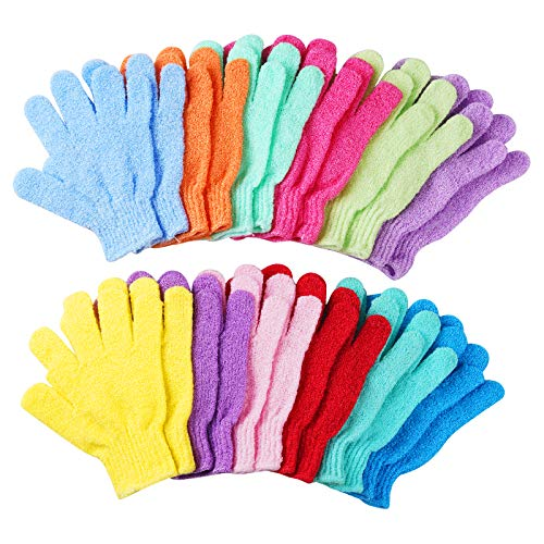 CVNDKN 12 Pairs Exfoliating Shower Gloves,Double Sided Exfoliating Bath Gloves Deep Clean Dead Skin for Spa Massage Beauty Skin Shower Scrubber Bathing Accessories.-12 Multi-Colors