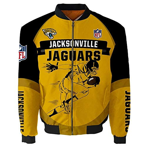 NFL Herren Jacke - Jacksonville Jaguars Fans Beiläufiges Leichte Sportjacke Langarm Pilotenanzug Mit Reißverschluss-Taschen A-XL