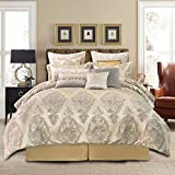 TOPLUXE 13-Piece Comforter Bed in a Bag, Jacquard Damask Comforter Sets for King Bed, Luxury Bedding Set with Bed Skirt, Euro Shams and Decorative Pillows for All Season(King,Rome)