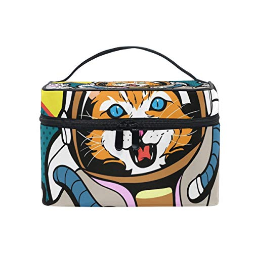 Kosmetiktasche, Make-up Tasche, Travel Makeup Bags with Zipper Cartoon Astronaut Cat Cosmetic Bag Toiletry Bags Train Cases Storage Bags Portable Multifunction Case for Women Girls
