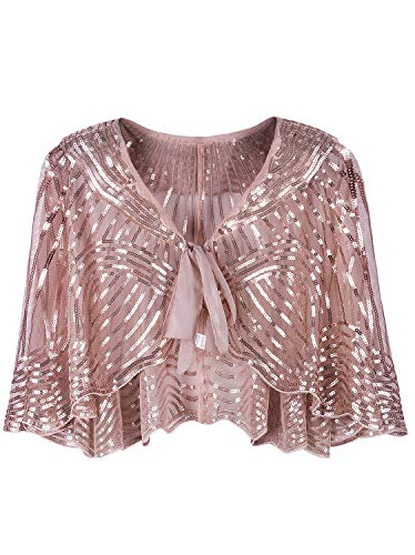 Vijiv 1920s Vintage Style Cape Jacket Embellished Bridal Shawl Capelet Flapper Bolero Cover Up Gatsby Party