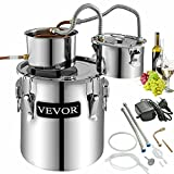 VEVOR Moonshine Still 9.6Gal/ 38 Liter Stainless Steel Water Alcohol Distiller Copper Tube with Circulating Pump Home Brewing Kit Build-in Thermometer for DIY Whisky Wine Brandy Spirits
