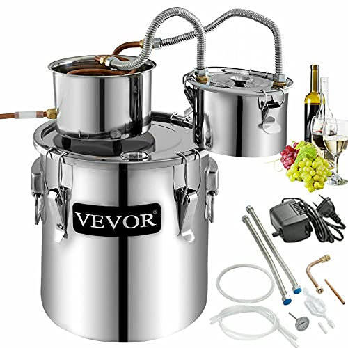 VEVOR Moonshine Still 9.6Gal 38L Alcohol Distiller Copper Tube With Circulating Pump Home Brewing Kit Build-in Thermometer for DIY Whisky Wine Brandy, Stainless Steel