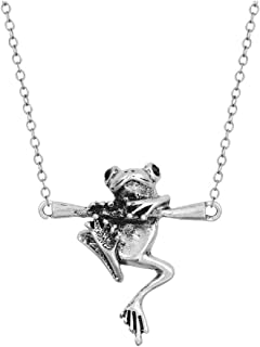 JOYID Cute Hanging Frog Pendant Necklace Vintage Silver Plated Funny Animal Necklace for Women Men Children