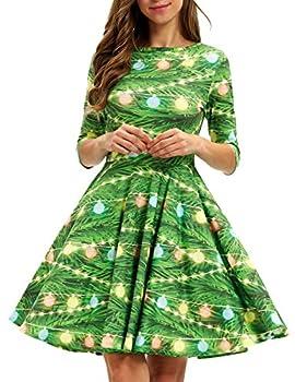 GLUDEAR Women s Half Sleeve Santa Christmas Xmas Gifts Print Flare Swing Dress,Xmas Lantern,L/XL