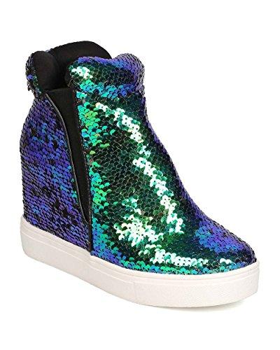 Women Sequin High Top Hidden Wedge Sneaker GB22 - Mermaid (Size: 11)