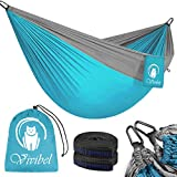 Vivibel Camping Hammock, Double & Single Portable Hammocks with Tree Straps, Lightweight Nylon Parachute Hammocks, Portable Hammock Hanging Swing Bed Load Capacity Up to 660 Lbs for Indoor Outdoor