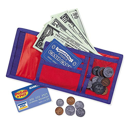 Learning Resources Pretend Play Cash 'N' Carry Wallet, Play Money, Nylon & Velcro Wallet, Basic Math and Money Skills, 73 Pieces, Ages 3+