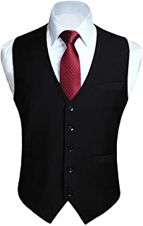 HISDERN Men's Suit Vest Business Formal Dress Waistcoat Vest with 3 Pockets for Suit or Tuxedo