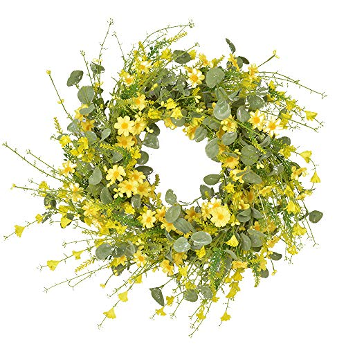 Sucpur Artificial Daisy Wreath, 23.6 Inch Floral Wreath Front Door Decor Faux Floral Wreath Hanging Wreath with Green Leaves Spring and Summerr Wreath for Easter Home Decoration