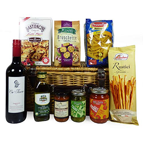 Italian Ca Tesore Red Wine 750 Millileter and Gourmet Treats 'Taste of Italy' Wicker Food and Wine Hamper - Ideas for Mum, Dad, Him, Her, Birthday, Valentines, Business and Corporate