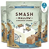 Smashmallow Cinnamon Churro | Snackable Marshmallows | Non-GMO | Organic Cane Sugar | 100 Calories | Pack of 3 (4.5 Ounces per Pack)
