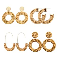♥ Handmade Dangle Earrings -- Our latest rattan earrings are made from 100% natural rattan fiber with elaborate handwoven knit by Artisans, handmade, natural, unique and chic ♥ Textured Alloy Earring Studs -- This statement earring featuring wicker b...