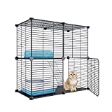 Eiiel Small Animal Cage with Dense Dense Metal Wire , 1x2x2 Cat Kitten Ferret Crate , Kennels ,Pet Playpen Indoor for Rabbit Puppy Guinea Pig, Bunny and Chinchilla ,28L x 14W x 28H Inch