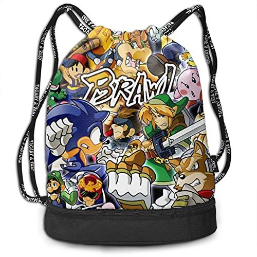 Zelda Mario - Mochila de gran capacidad, ligera, portátil, multifuncional, con cordón, ideal para viajes de fitness, hombres y mujeres