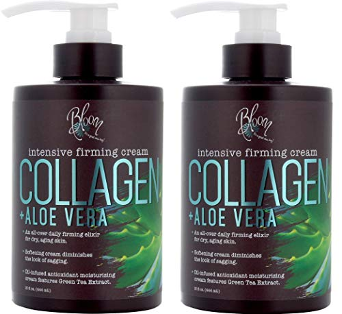Bloom Collagen Firming Cream for Body and Face. Intensive moisturizer with Aloe Vera, and Green Tea extracts for sagging, aging, and dry skin. Large 15 Fl oz (444 mL) jar with pump. (Two - 15oz)