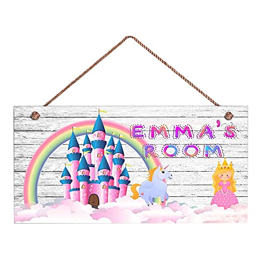 Personalised Kids Room Wooden Sign Girls Wall Plaques Door Sign Customized Gift for Baby-Princess and Pink Dream Castle