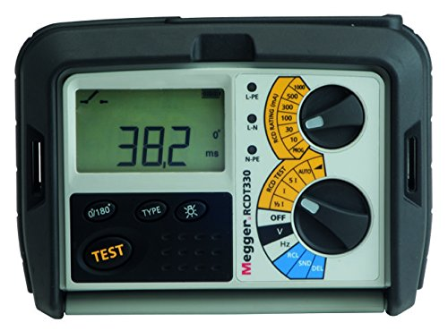 Megger RCDT330-DE-SC FI/RCD-meetinstrument, controle van type A, AC en selectieve, programmeerbare RCD van 10 mA tot 1000 mA, RCD-activeringstijd