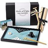 oasis of calm zen garden kit. 11x8 inch beautiful premium japanese mini rock garden meditation