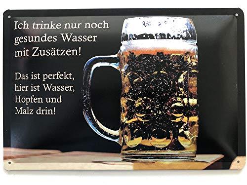 Deko7 Tin Sign 30 x 20 cm Bier – Ich drinke nur noch gezond water met additieven