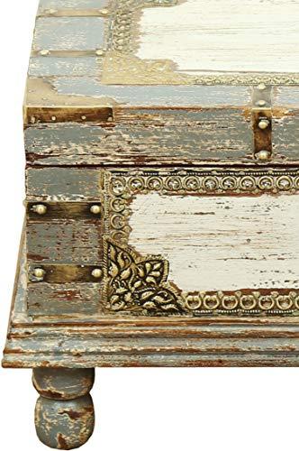 Orientalische Truhe Kiste aus Holz Arjuna Grau - 47cm groß | Vintage Sitzbank mit Aufbewahrung für den Flur | Aufbewahrungsbox mit Deckel im Bad | Betttruhe als Kissenbox oder Deko im Schlafzimmer - 4