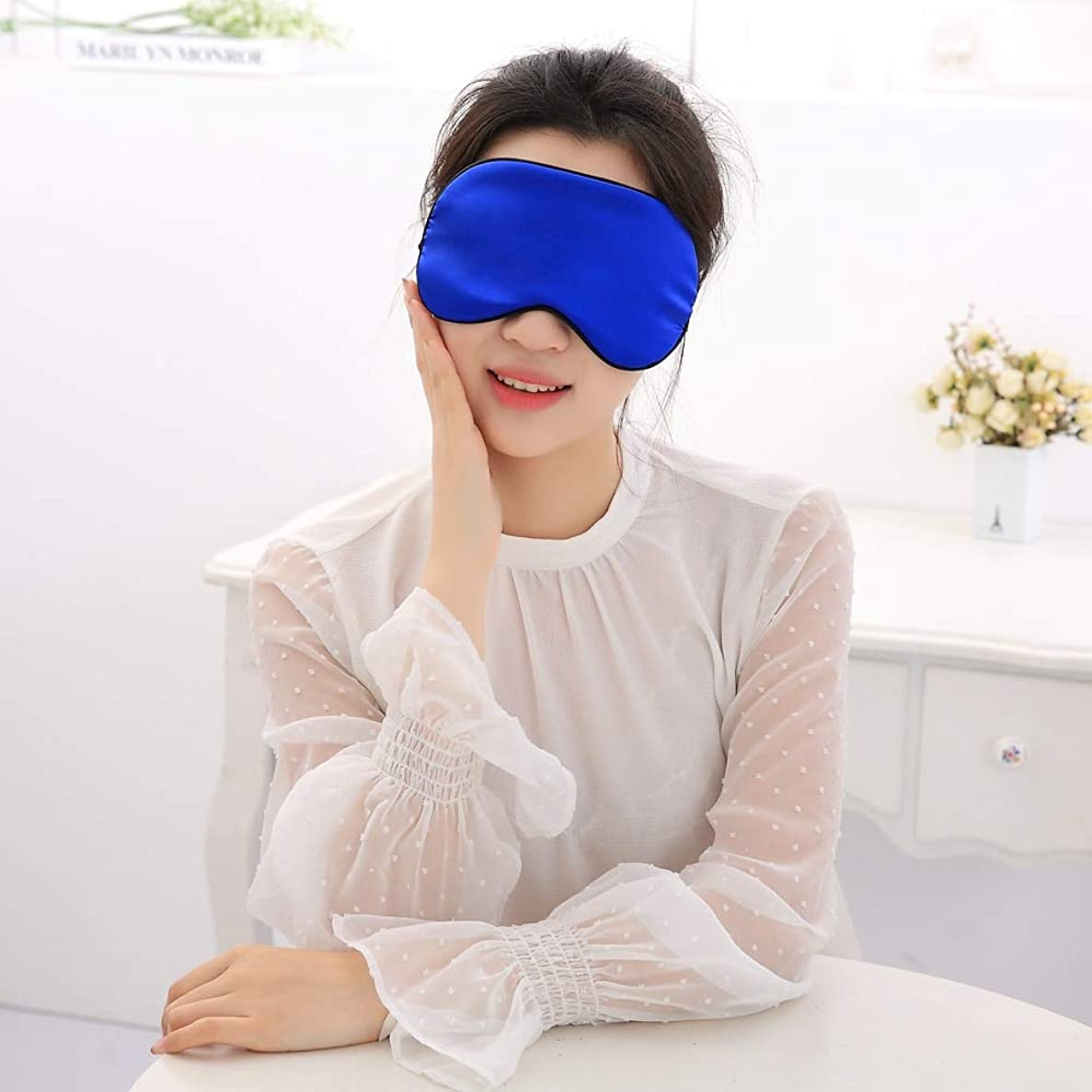 幾何学売り手敷居NOTE Cucommaxデュプレックス模造桑シルクアイマスクアイシェードスリープマスクブラックマスク包帯用睡眠-MSK53