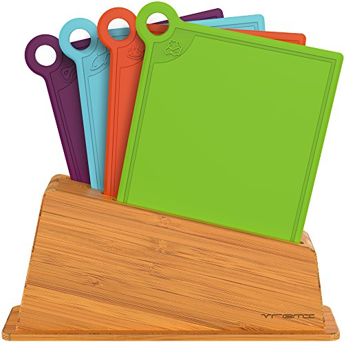 Vremi 5 Piece Plastic Cutting Board Holder Set - BPA Free Dishwasher Safe Colorful Kitchen Cutting Boards Bamboo Holder - Small Color Coded Chopping Boards for Meat Vegetables and Fish