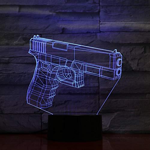 Lámpara de ilusión 3D Luz de noche LED 7 colores cambiantes Lámpara de mesa visual Luces del hogar Placa de metacrilato para bebés Artesanía Interruptor de luz táctil