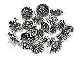 GOELX Silver Metal Antique Studs Earrings Making Combo (Pack of 10 Pair)