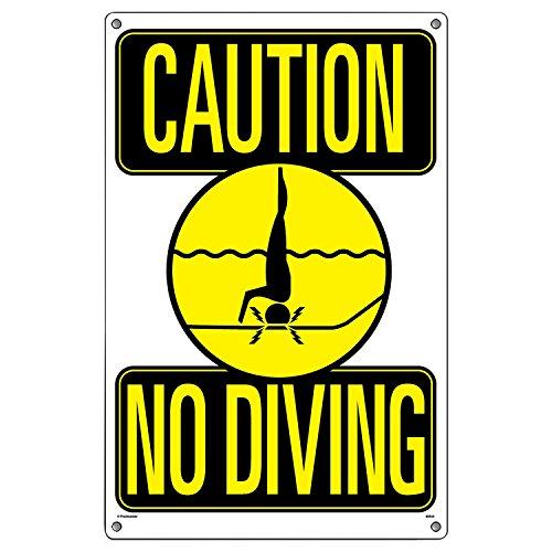 Poolmaster Schild für private oder gewerbliche Schwimmbäder, Vorsicht vor dem Tauchen.