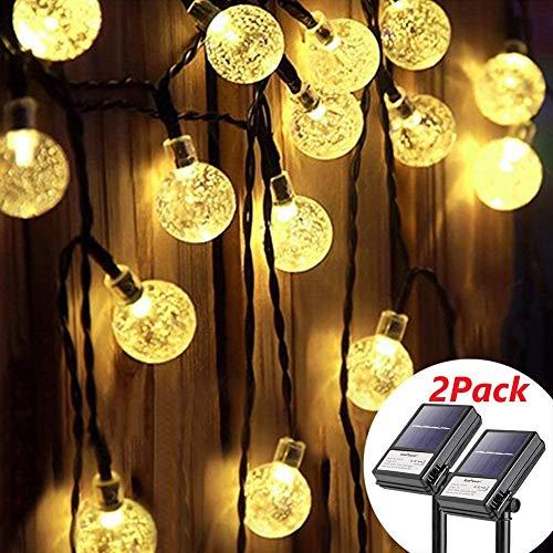 KooPower 2Stk 4.5M 30er LED Solar und Batterie Lichterkette, 8 Modi IP65 Wasserdicht Kugel Lichterketten, TIMER Dimmbar Lichterkette, für Innen und Außen dekoration, Hochzeiten-Warmweiß
