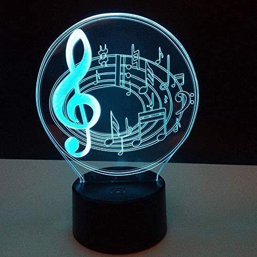 DXJA HCDZF Nota musical romántica 16 cambio de color lámpara de mesa 3D LED luces de noche Bedroon decoración novedad brillo vacaciones regalo para niños 3D noche luz
