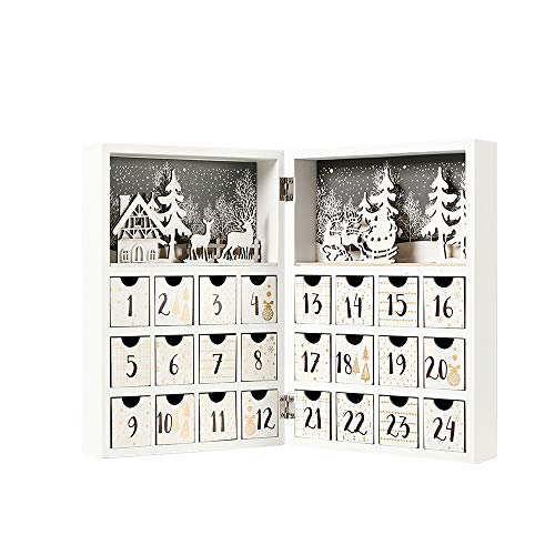 PIONEER-EFFORT Christmas Wooden Advent Calendar Book with Drawers for...