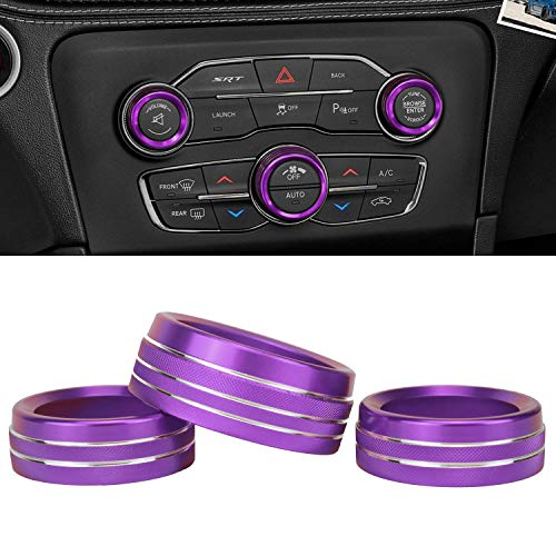 Yzyun Volume Air Conditioner Radio Button Knob Covers, Fit for Dodge Challenger/Charger 2015-2020 Interior Accessories, 3 x Aluminum Alloy Decal Trim Rings (Purple)