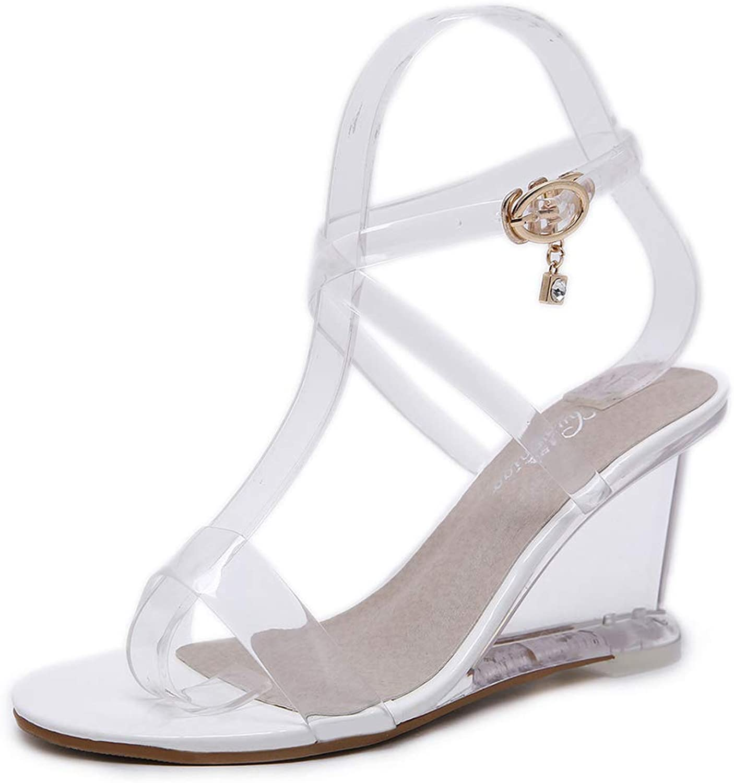 Womens Sandals Wedges, Simple Versatile Belt Buckle High Heels,Ladies High Heel Cross Over Ankle Strap Sandals shoes