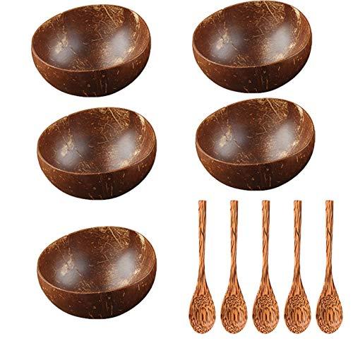 Cuenco de madera de coco natural de 12 a 15 cm, cuenco de madera de coco respetuoso con el medio ambiente, juego de cucharas para hornear, cocinar, servir cocina (color: 5 cucharas, 5 cuencos)