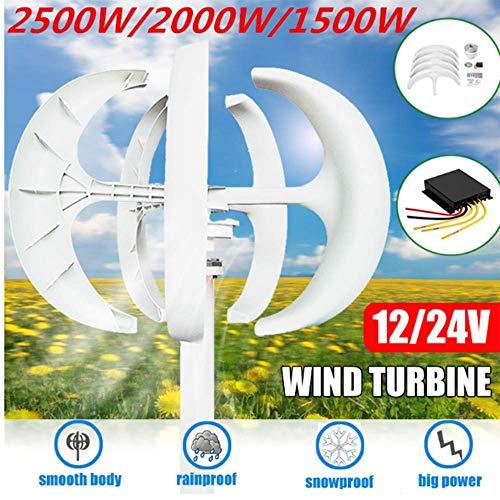 SISHUINIANHUA 1500W / 2000W / 2500W turbinas de Viento Generador Controlador 12V24V + 5 Hojas Linterna de Eje Vertical para Uso residencial de los hogares de la farola,24v,2000w