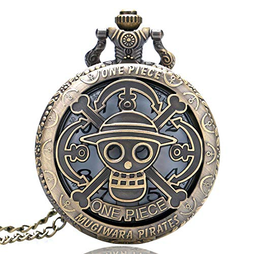 GHKUFH Reloj de Bolsillo Bronce Cobre Vintage One Piece Theme Hollow Skull Pattern Reloj de Bolsillo de Cuarzo para Hombres Mujeres Niños Regalo Collar Colgante
