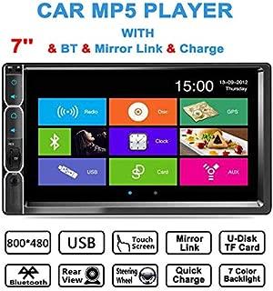 ダブルディンカーステレオMP5プレーヤー 7インチLCDタッチスクリーンモニター ブルートゥースオーディオと呼び出し FMラジオ TF USB AUX入力 サポートバックカメラ入力とステアリングホイールコントロール
