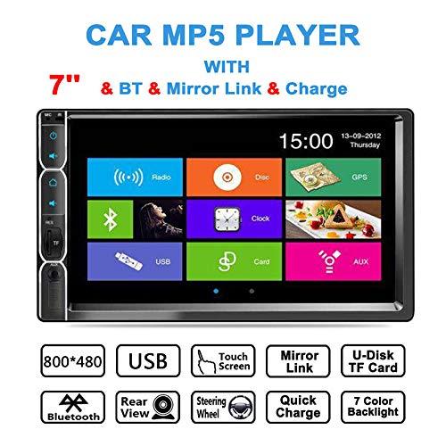 Lettore MP5 stereo per auto doppia din,monitor touchscreen LCD da 7 pollici,audio e chiamate Bluetooth,radio FM,TF USB AUX-in,supporto ingresso telecamera posteriore e controllo del volante