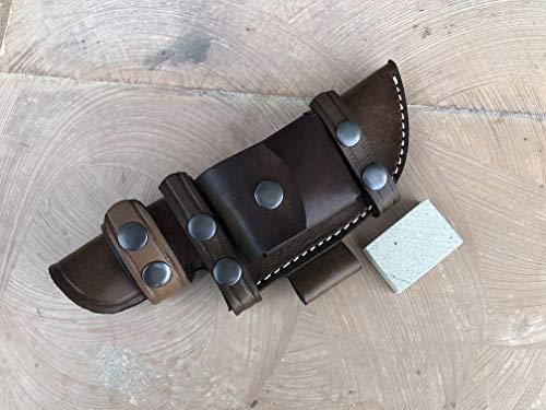 Cutlery Era Custom Handmade Brown Bushcraft Tracker/Skinner Knife 100% Pure Buffalo Leather Right/Left Hand Horizontal Scout Sheath & Sharpening Stone Set