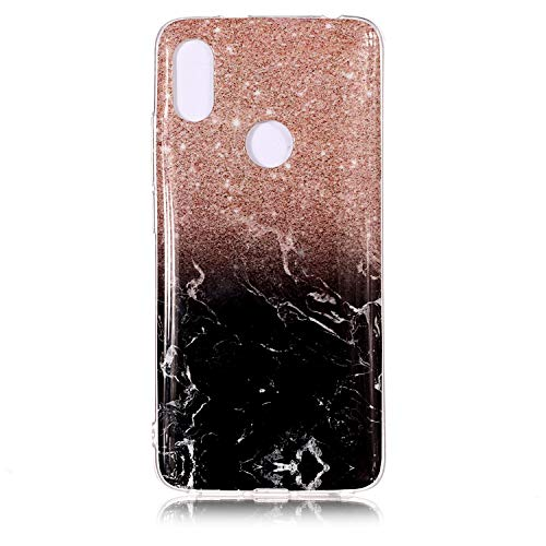 Ycloud Weich Silikon TPU Schutzhülle für Xiaomi Redmi S2 Hülle Ultra Dünn Marmor Back Cover Anti-Kratzer Entwurf Marble Linien Muster Roségold Schwarz